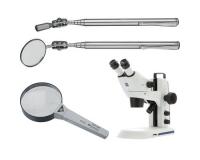 Gương kiểm tra, kính lúp, kính hiển vi